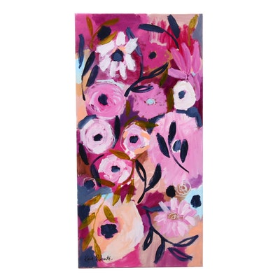 """Kait Roberts Acrylic Painting """"Midnight Blooms"""""""
