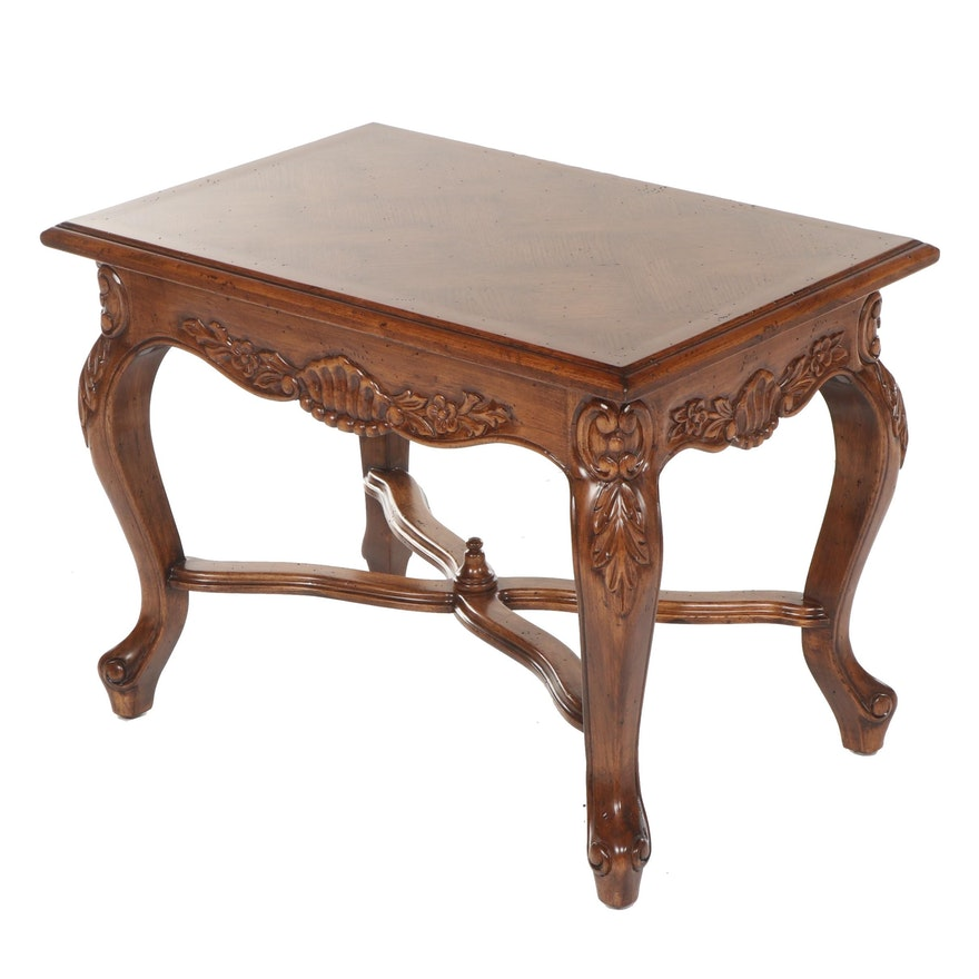 French Provincial Style Carved Wooden Side Table, Late 20th Century