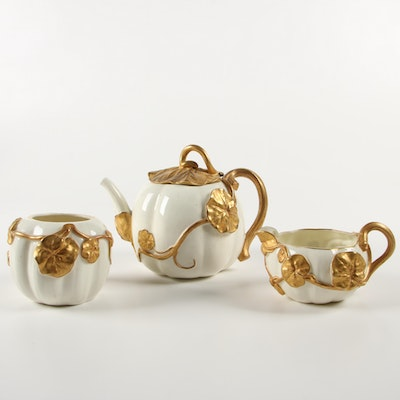 Royal Worcester Gilded Vine Porcelain Tea Set, 1880