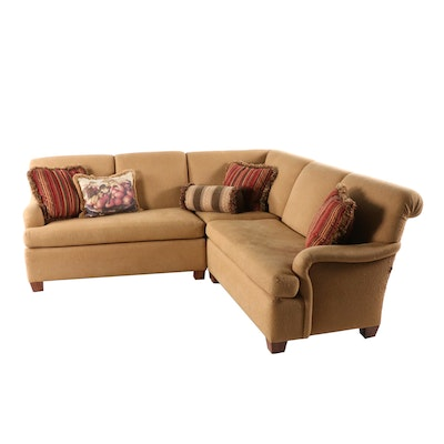 Snyder Contemporary Beige Fabric Upholstered Sectional Sofa with Accent Pillows