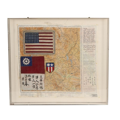 WWII U.S. Air Force Flying Tigers Blood Chit Mounted with Evasion Map and More
