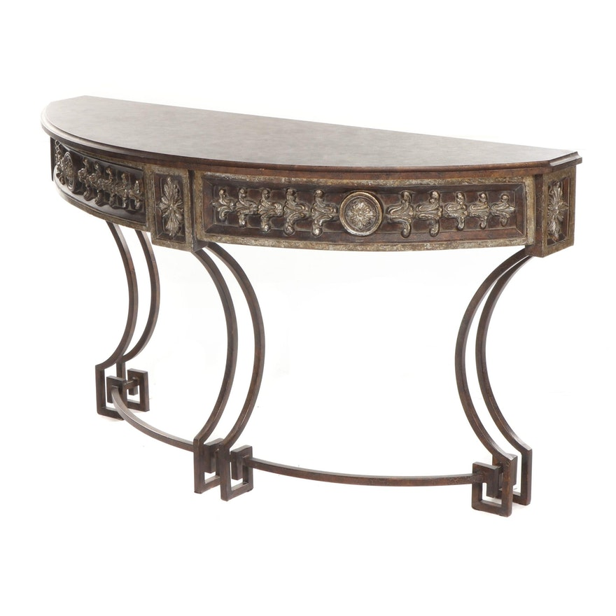 Contemporary Composite and Metal Console Table with Distressed Finish