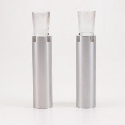 Sari Srulovitch Modern Anodized Aluminum Shabbat Candlesticks