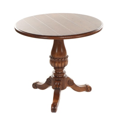 Small French Provincial Style Wooden Pedestal Table, Late 20th Century