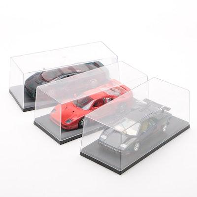 BBurago Ferrari and Lamborghini Models with Maisto Jaguar Model