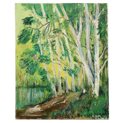 1982 Wooded Landscape Oil Painting