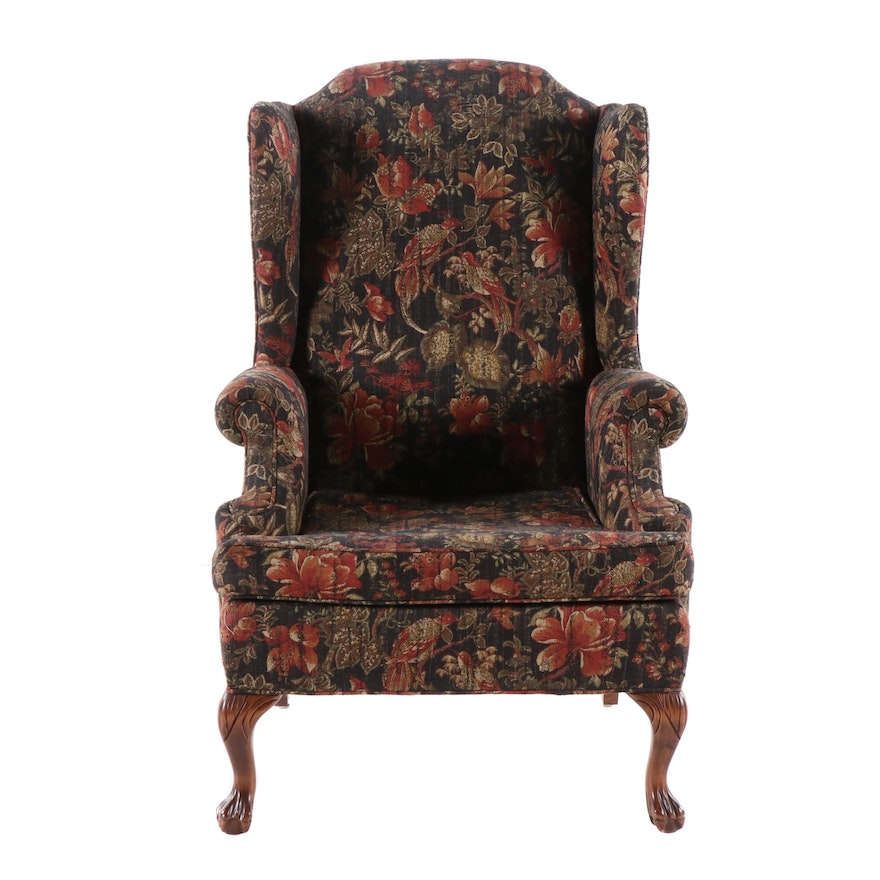 Snyder Chippendale Style Upholstered Wingback Chair, Late 20th Century