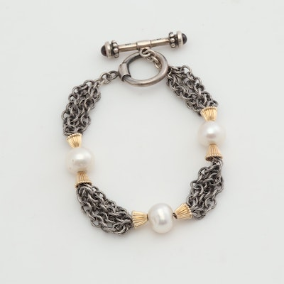 Sterling Silver & 14K Yellow Gold Trumpet Bead Bracelet with Cultured Pearls