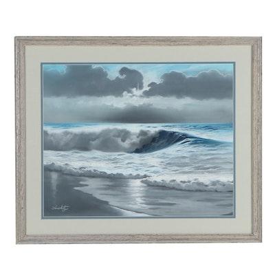 Larry Anschutz Seascape Oil Pastel Drawing