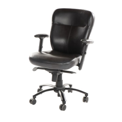Contemporary Honquest Leather Upholstered Office Desk Chair