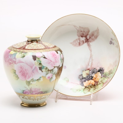 Haviland Hand-Painted Footed Bowl and Japanese Hand-Painted Vase