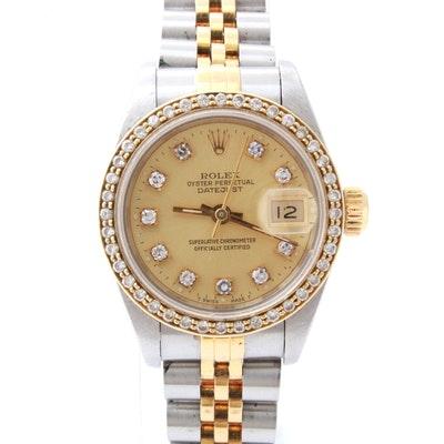 Rolex 14K Yellow Gold and Stainless Steel Diamond Bezel Watch