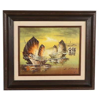 L. Chang Oil Painting of Chinese Junk Boats