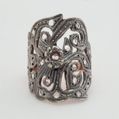 Sterling Silver and 10K Rose Gold Rose Cut Diamond Ring