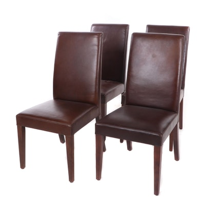 Contemporary Faux Leather Upholstered Dining Chairs, Group of 4