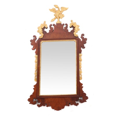 George III Style Mahogany and Parcel Gilt Fret Carved Mirror, Early 20th Century