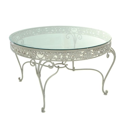 Painted Metal and Glass-Topped Patio Dining Table, Second Half 20th Century