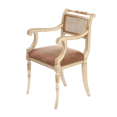 Marsha Jones Empire Style White and Gold Painted Cane Back Wooden Armchair