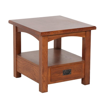 Arts and Crafts-Style Oak End Table, Contemporary