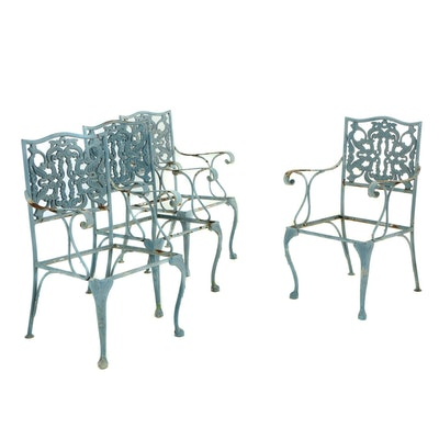 Four Painted Metal Patio Dining Armchairs, Second Half 20th Century