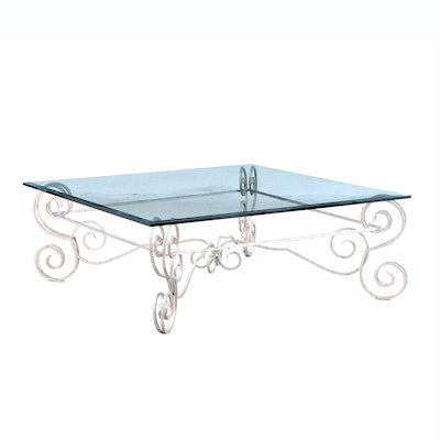 Ohio Ironworks Wrought-Iron Glass Top Coffee Table, Contemporary