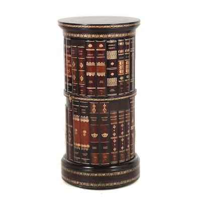 Contemporary Circular Book Motif Side Table with Leather Top