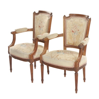 Pair of Louis XVI Style Walnut-Finish Armchairs with Needlepoint Upholstery