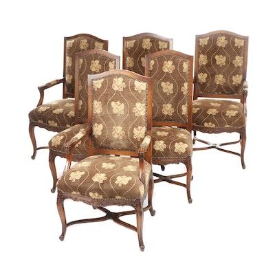 Marsha Jones Louis XV Style Mahogany-Finish Dining Chairs, Set of Six