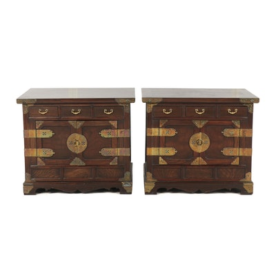 Pair of Chinese Elm Brass Mounted Cabinets, Mid-20th Century