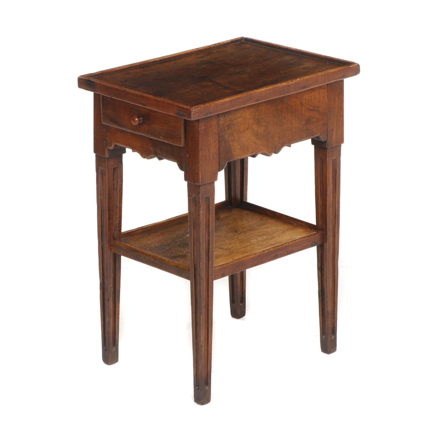 Colonial Style Walnut Side Table with Drawer