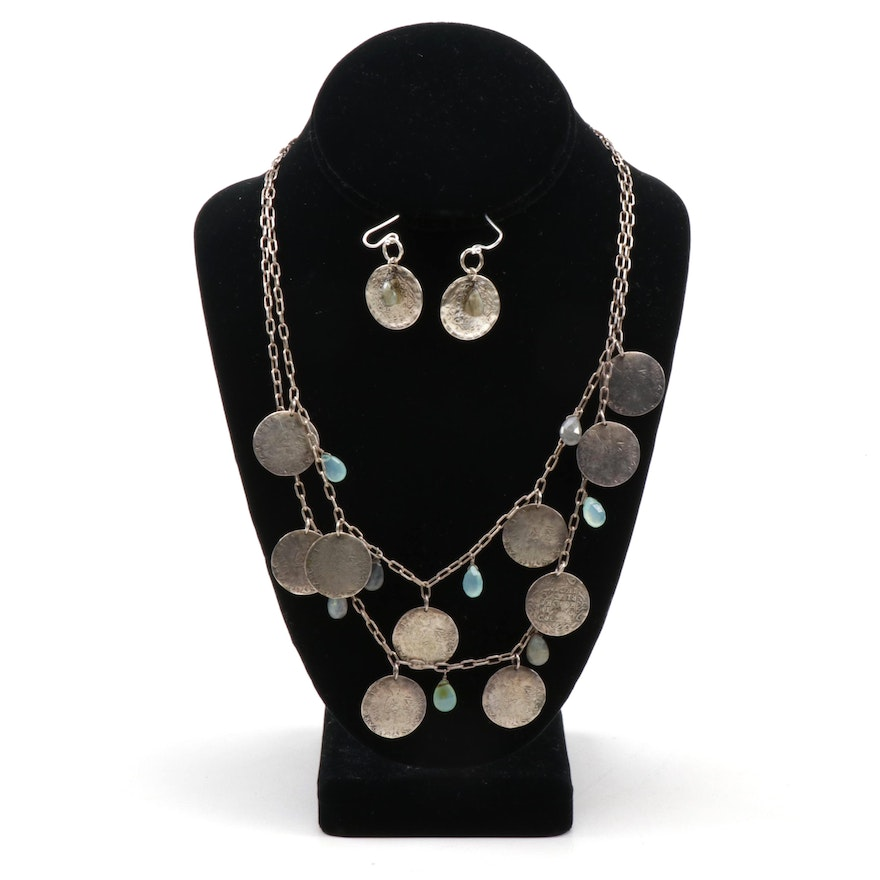 Sterling Silver Labradorite and Antiquated Coin Style Necklace and Earrings