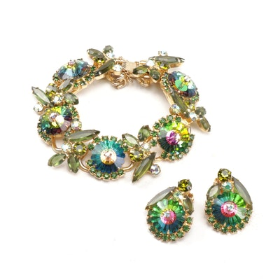 Gold Tone Rhinestone Flower Bracelet and Earrings, Vintage