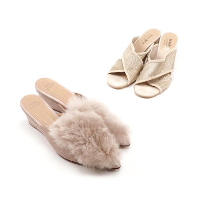 Huma Blanco Alpaca Fur Suede Wedges and Coach And Four Mesh and Suede Sandals