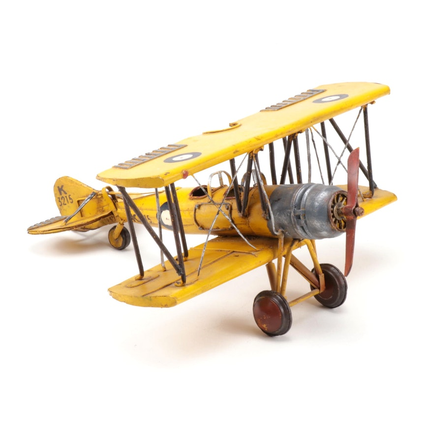 Vintage Style Faux Aged Medal K3215 Bi-Plane with Propeller