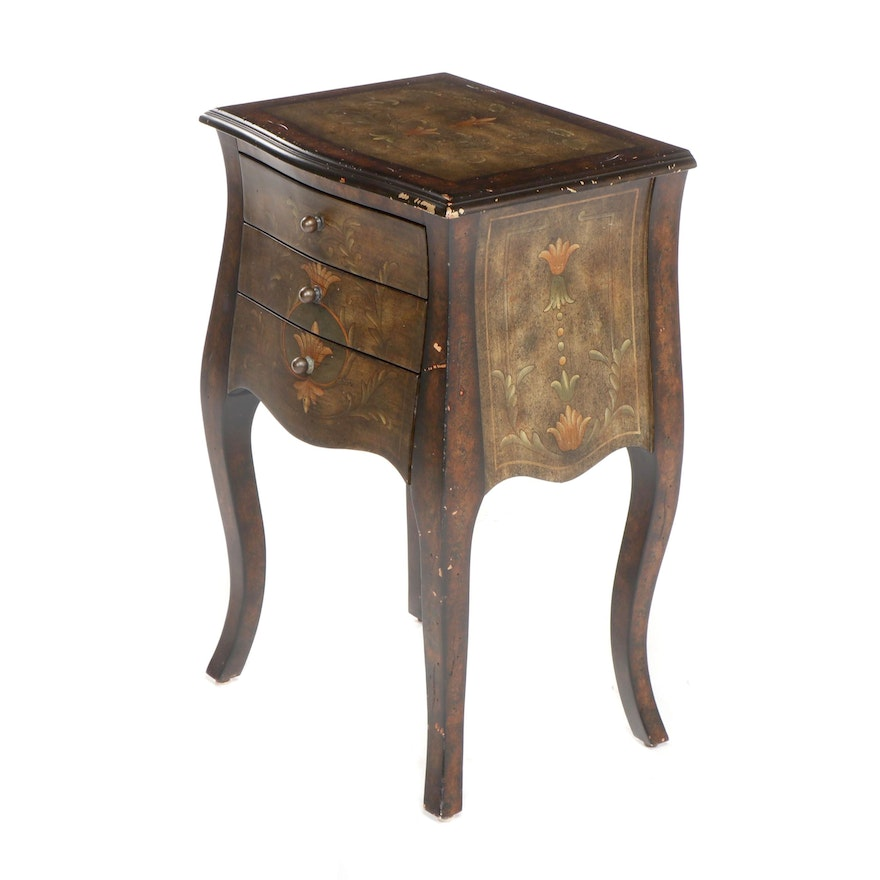 Contemporary Three Drawer Side Table Distressed Style Finish