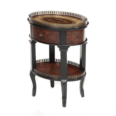 Contemporary Round Side Table with Distressed Style Finish