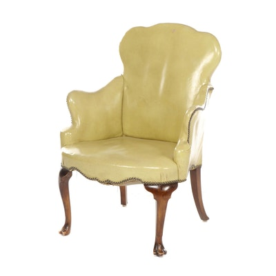 Queen Anne Style Trifid-Foot Patent Leather Upholstered Armchair