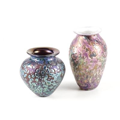 Robert Eickholt Spatter Glass Art Glass Vases