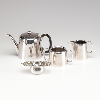Silver Plate Tea Service with Reed & Barton Strainer