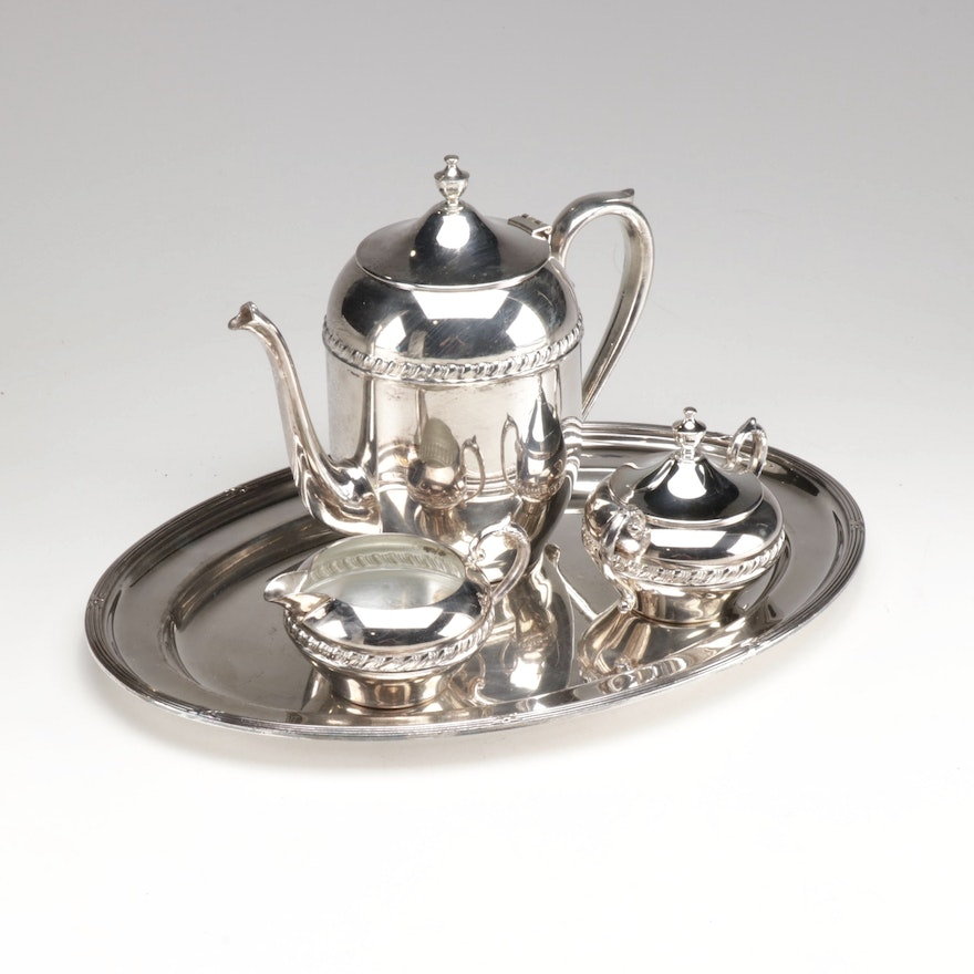 Sheridan Silver Co. Silver on Copper Tea Service