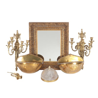 Brass Wall And Ceiling Decor with Giltwood Frame Mirror