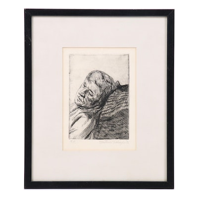 Michael Schaefer Etching of a Man Resting