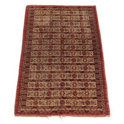 Hand-Knotted Turkmen Tekke Wool Rug