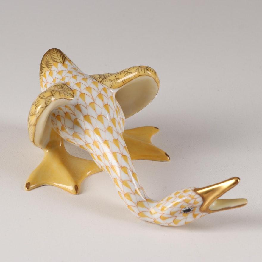 "Herend Butterscotch Fishnet ""Honking Goose"" Figurine"