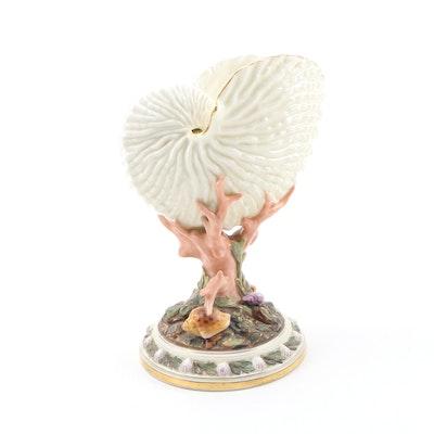 Royal Worcester Porcelain Nautilus Shell Vase, 1883