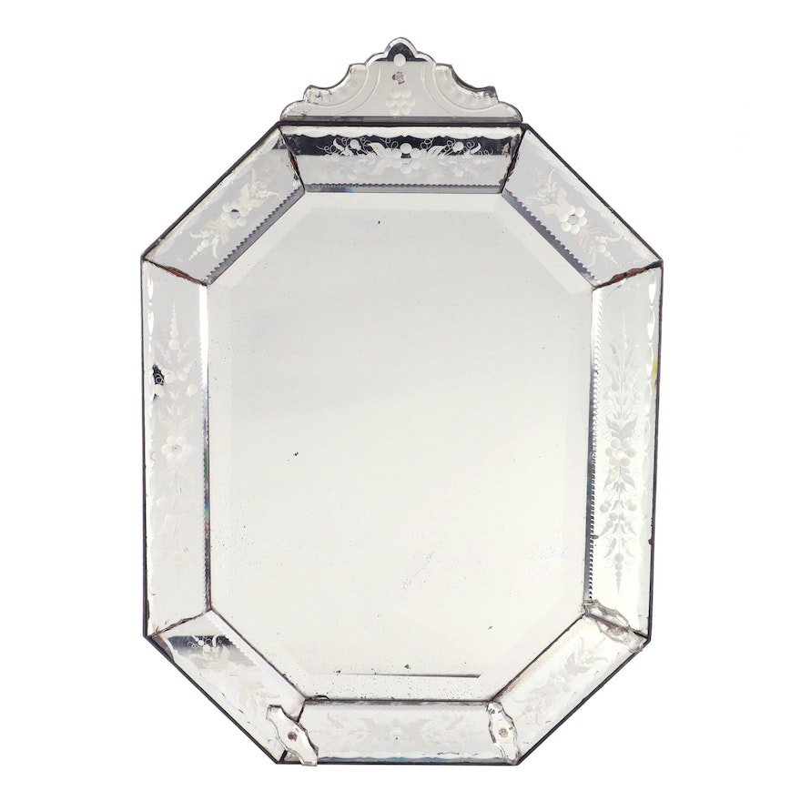 Venetian Style Etched Glass Mirror, Early 20th Century