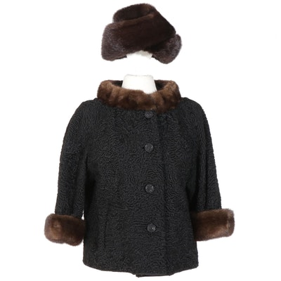 Black Persian Lamb and Mink Fur Jacket with Marché Mink Fur Hat, Vintage