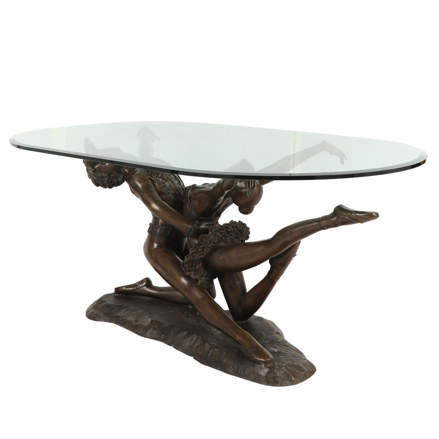 Contemporary Sculptural Brass Ballet Dancers Figural Dining Table with Glass Top