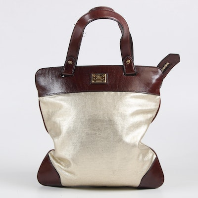 Burberry Prorsum Metallic Coated Canvas and Dark Mahogany Brown Leather Tote