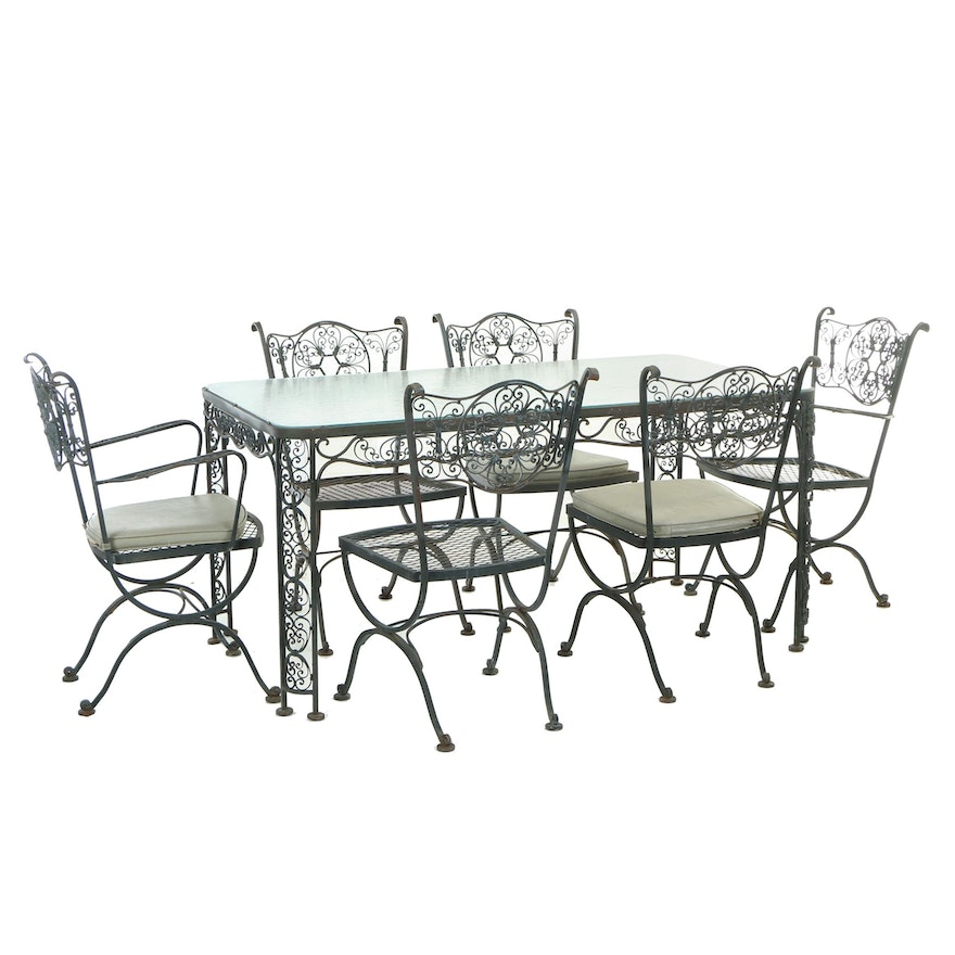Seven-Piece Metal Patio Dining Set, Second Half 20th Century